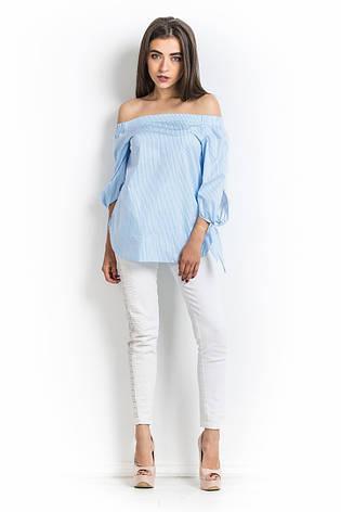 a723d9249d9 Женская блузка в голубую полоску со спущенными плечами  продажа ...