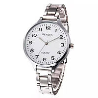 Часы Женева, серебристый ремешок