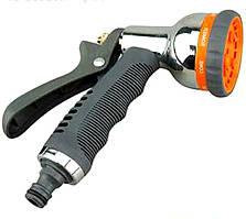 """Пистолет-распылитель для воды """"Presto 8 режимов"""" металл (хром)."""