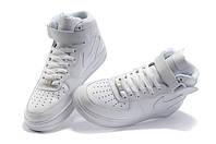 Зимние кроссовки Nike Air Force с мехом белые высокие