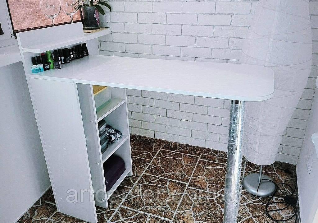 Маникюрный складной стол, маникюрный белый стол с полками