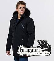 Braggart Black Diamond 9828 | Зимняя мужская куртка черная