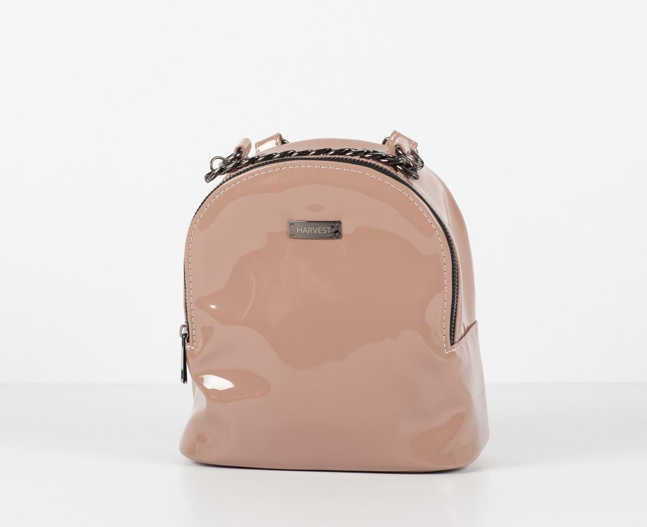 Женский рюкзак сумка лаковая эко-кожа HARVEST бежевый (женский рюкзак,