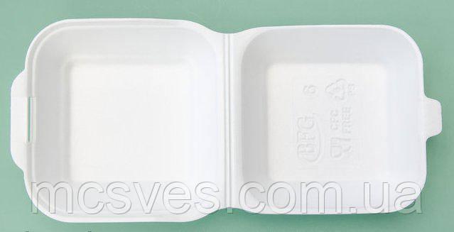Ланч-бокс (СЕНДВИЧ) БЕЛЫЙ без делений из вспененного полистирола с крышкой 150x150x70 мм.