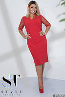 Нарядное платье рукав три четверти из сетки с вышивкой Размеры: 48-50, 52-54