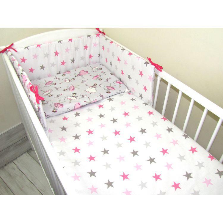 Комплект в кроватку Хатка Золушка белый со звездами