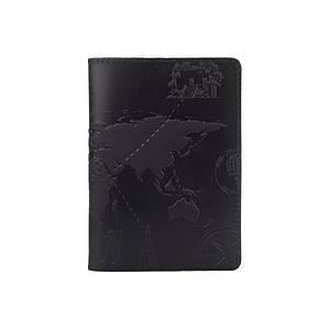 """Дизайнерская кожаная обложка для паспорта черного цвета, коллекция """"7 wonders of the world"""""""