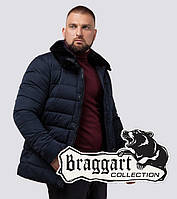 Куртка зимняя с натуральным мехом Braggart Dress Code - 16148F темно-синий