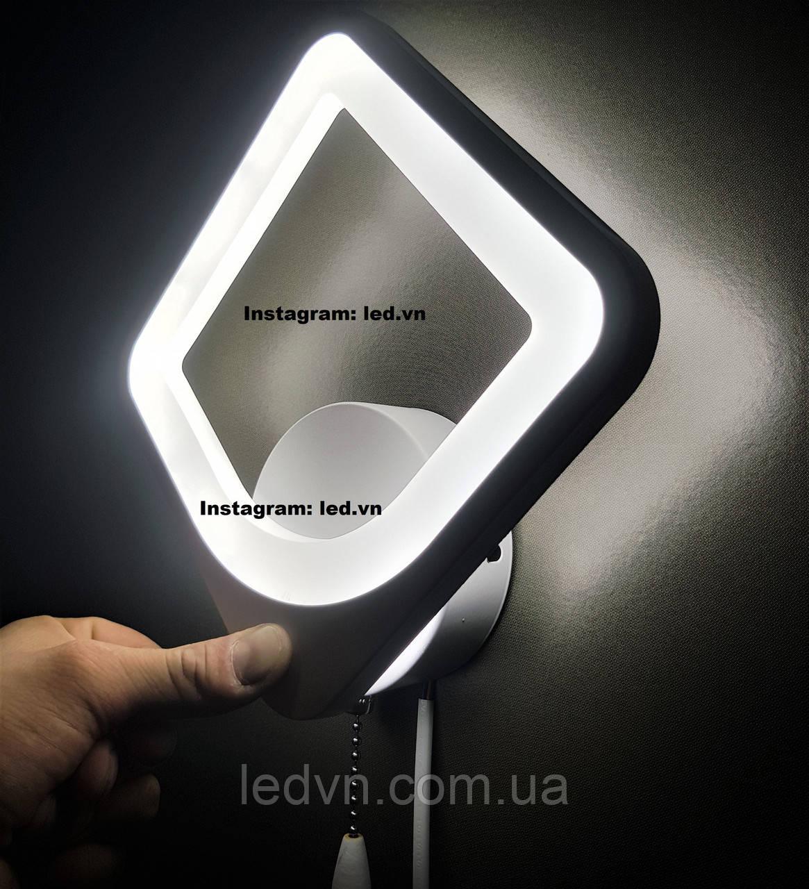 Сучасне світлодіодне бра led білий квадрат