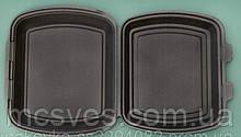 Ланч-бокс ЧОРНЫЙ без делений из вспененного полистирола с крышкой 240x210x70 мм.