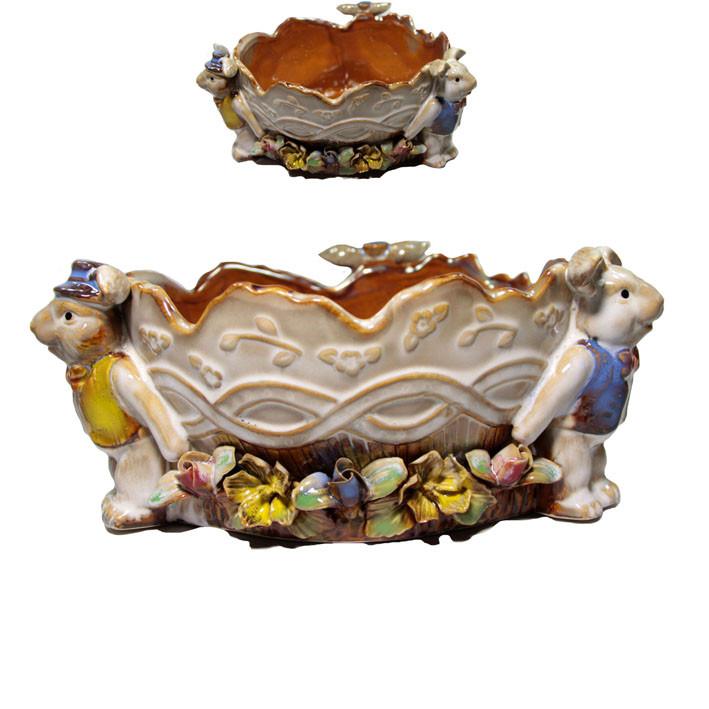 Тарелка конфетница из керамики Зайцы