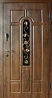 Уличные  входные двери Редфорт Арка винорит со стеклом и ковкой