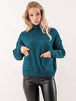 Женский свитер с карманами бирюзового цвета. Модель 19091.