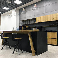 Дизайнерская ультрамодная кухня KITO с шпонированными фасадами INSTYLE