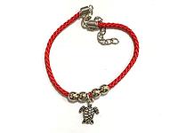 Браслет красный, Красная нить, Подвеска черепаха, Античное серебро