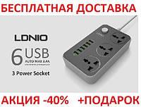 Сетевой фильтр-удлинитель LDNIO SE3631 2 метра кабель, фото 1