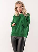 Женский свитер с карманами зеленого цвета. Модель 19095, фото 1