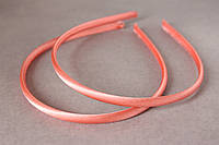 Обруч для волос (ободок) пластмассовый атласе 8 мм персикового цвета