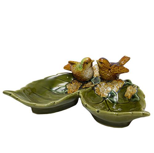 Конфетница из керамики Птицы на листьях