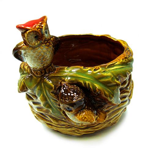 Конфетница из керамики Совы на гнезде