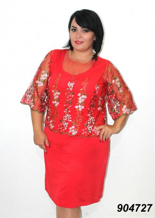 Платье трикотажное с вышитой сеткой 50,52,54,56