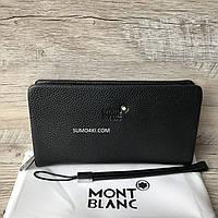 Мужской кожаный клатч Mont Blanc сзади с карманом под телефон., фото 1