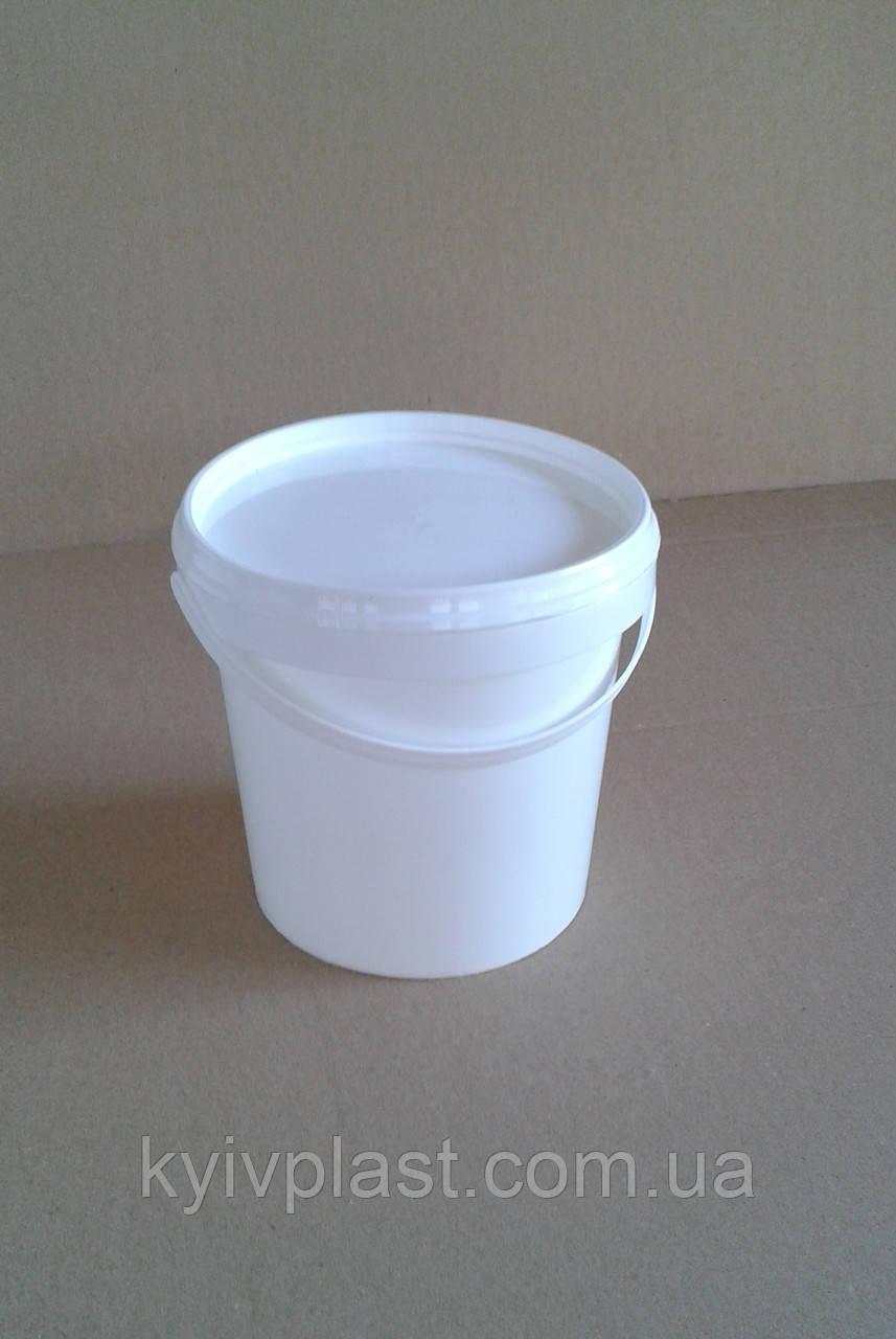 Ведро пластиковое пищевое 1л белое