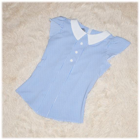Блуза школьная с коротким рукавом белая в голубую полоску для девочки ТМ Newpoint 122 128