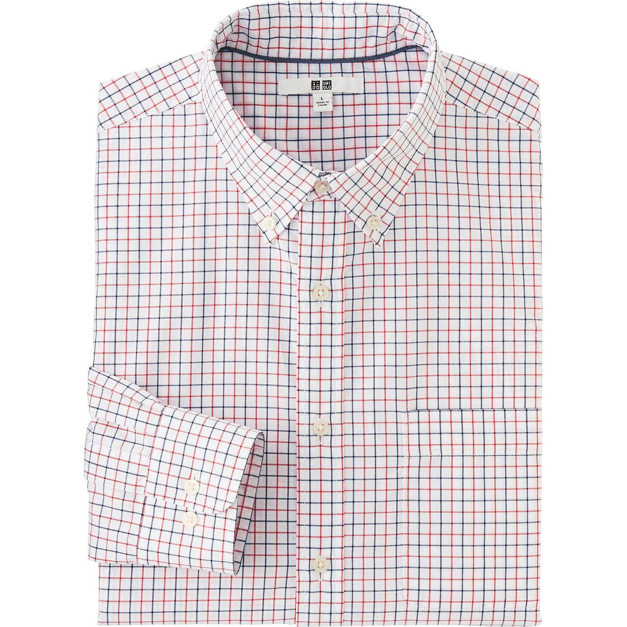 Рубашка Uniqlo Men Extra Fine Cotton Broadcloth Check LS RED