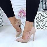 Женские туфли лодочки бежевые замш, фото 2