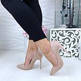 Женские туфли лодочки бежевые замш, фото 3