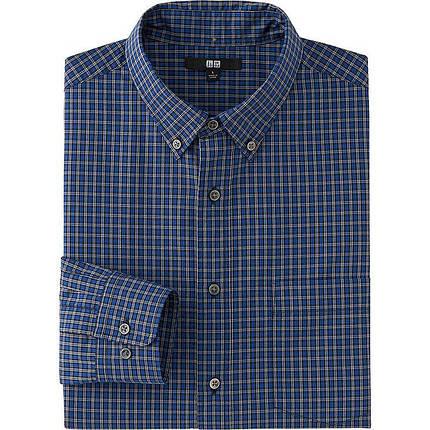 Рубашка Uniqlo Men Extra Fine Cotton Broadcloth Check LS NAVY, фото 2