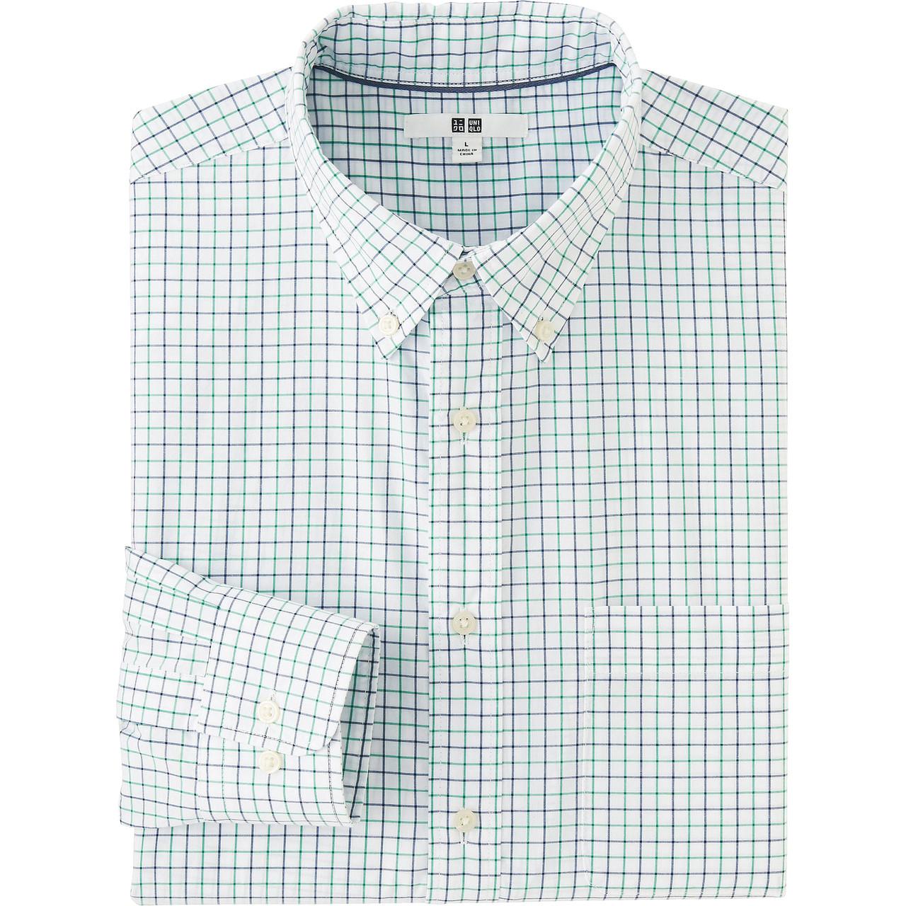 Рубашка Uniqlo Men Extra Fine Cotton Broadcloth Check LS GREEN