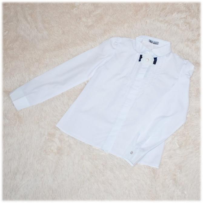 Блузка школьная Gabriel с длинным рукавом белая для девочки ТМ Newpoint 140
