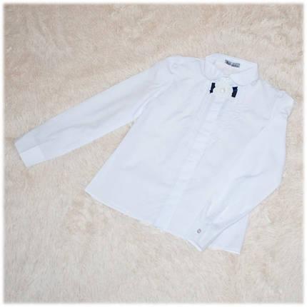 Блузка школьная Gabriel с длинным рукавом белая для девочки ТМ Newpoint 140, фото 2