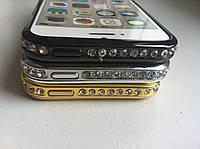Серебряный бампер для Iphone 5/5s с камнями Сваровски