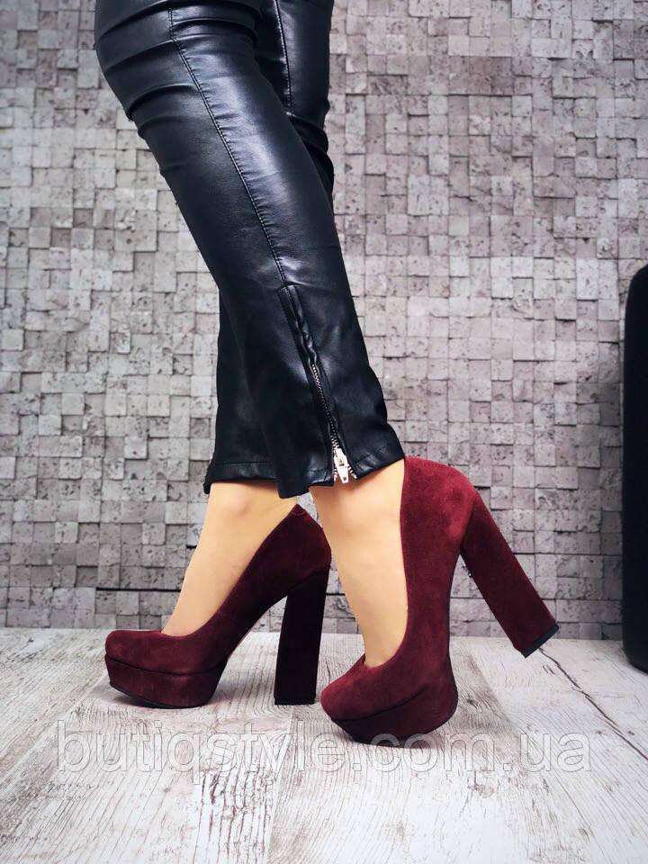 40 размер! Женские замшевые туфли на устойчивом каблуке марсала