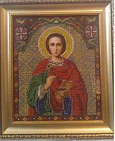 Икона Св.Целителя Пантелеймона (вышивка бисером) 25х28 см, 550