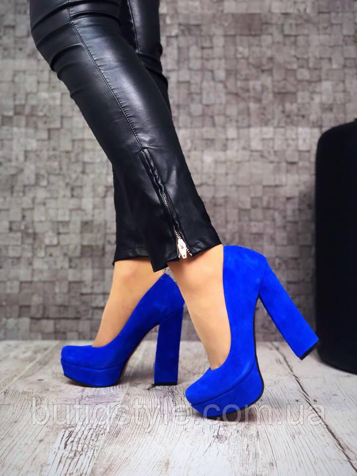 9cf3a44b9 39, 40 размер! Женские туфли синие электрик натуральный замш ...