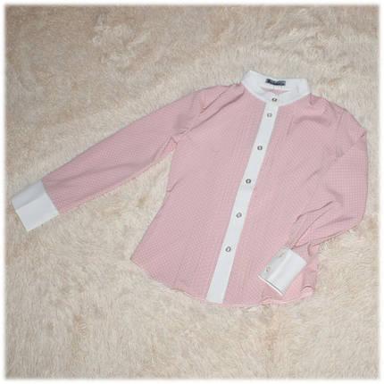 Блуза школьная с длинным рукавом пудровая для девочки Victoria ТМ Newpoint  146 152 , фото 2