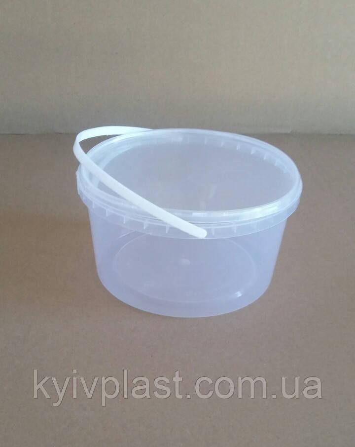 Ведро пластиковое пищевое 1.5 л прозрачное