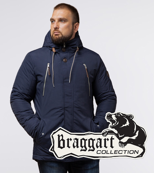 Парка на молнии и кнопках зимняя мужская Braggart 43015 синий