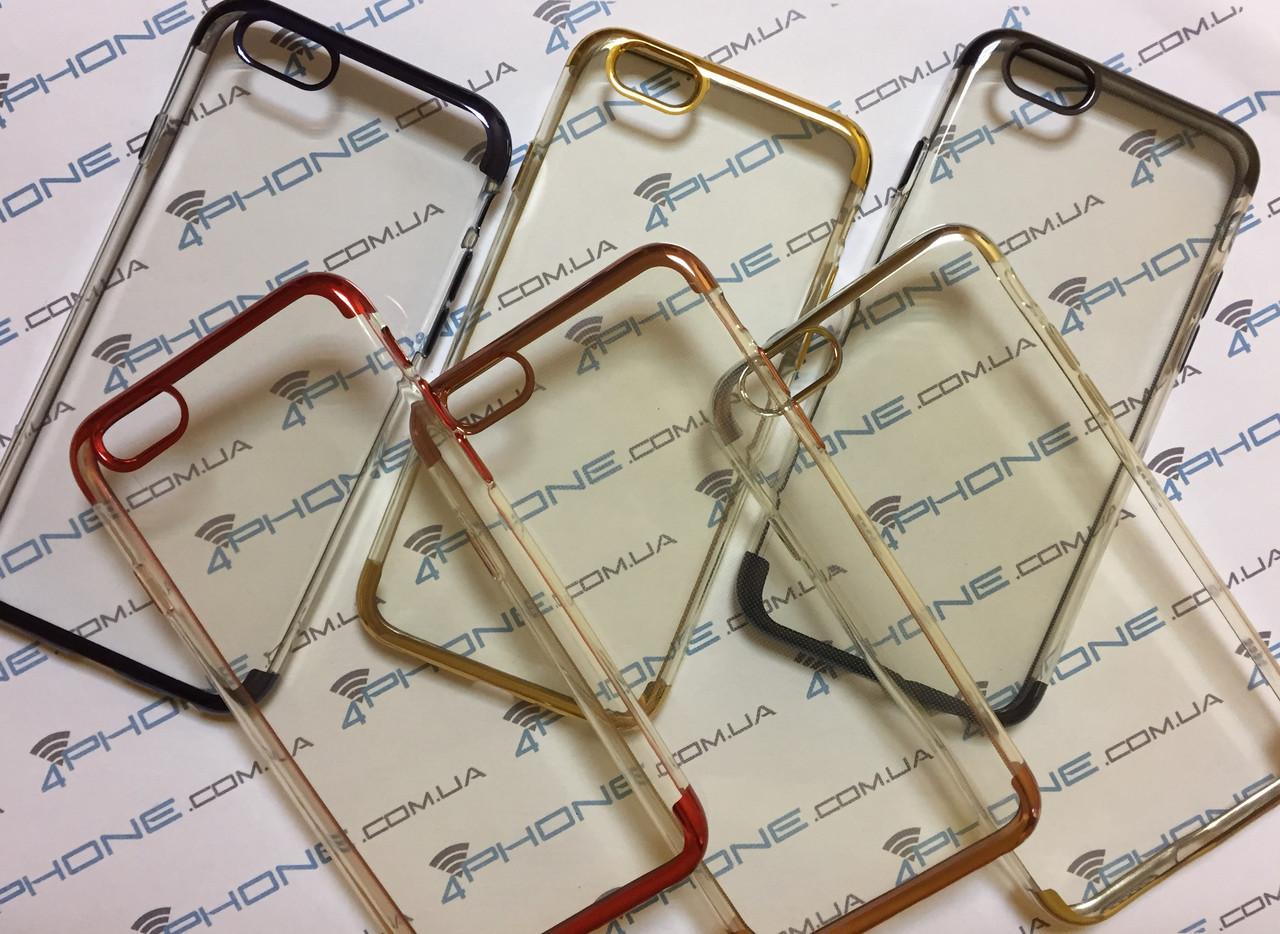 Чехол силиконовый, прозрачный с контуром для iPhone 6/6s