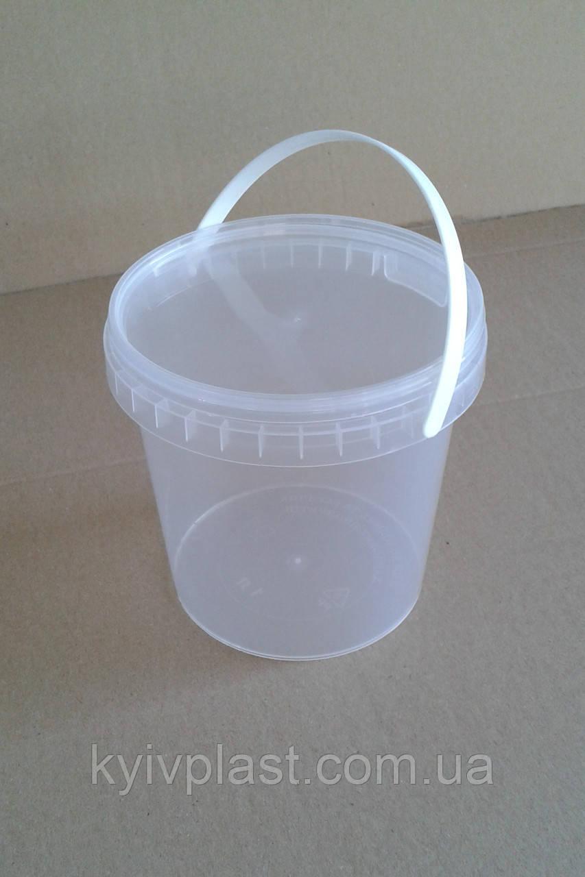 Ведро пластиковое 1л прозрачное для меда