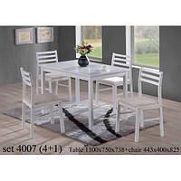 Стол и 4 стула белого цвета- комплект Onder mebli, фото 1