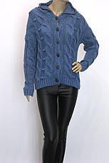 Жіноча тепла грубої вязки кофта з капюшоном, фото 2
