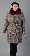 Пальто зимнее клетка с натуральным мехом