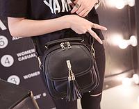 Сумка женская рюкзак черный с кисточками Уценка , фото 1