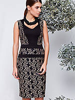 Платье женское Эльвира черное с бежевым комбинированное из двух материалов