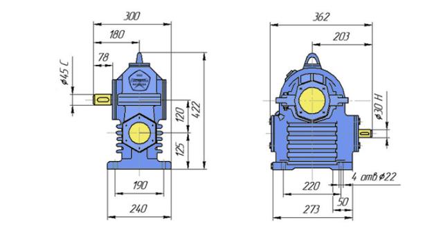 Габаритні розміри редуктора РЧП-120 креслення